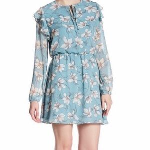 Charles Henry Blue Long Sleeve Ruffle Floral Dress